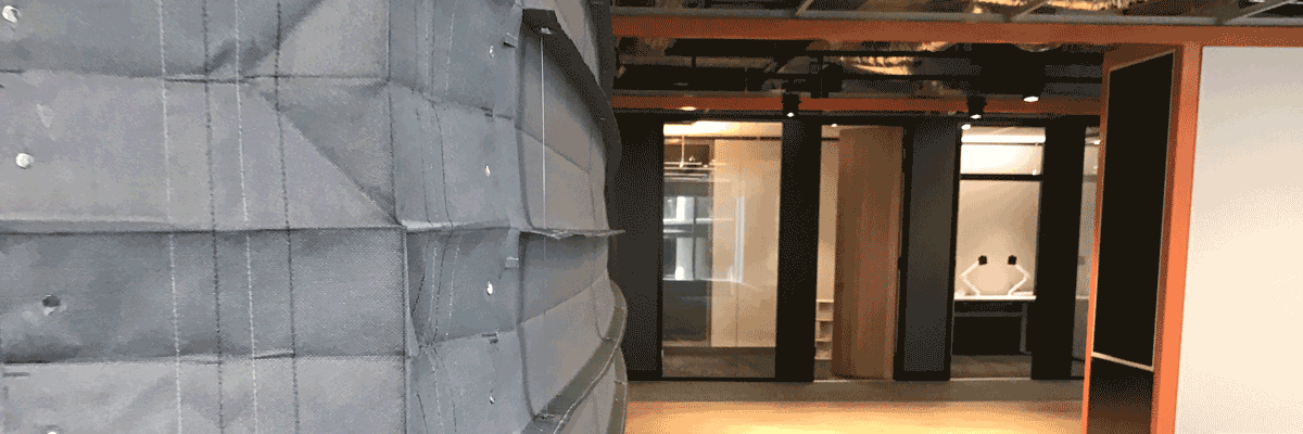 Narrow box Concertina fire curtain the only solution for tight design spaces